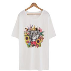 Tiger T Shirts Loose Tee Big Shirts for Women 163