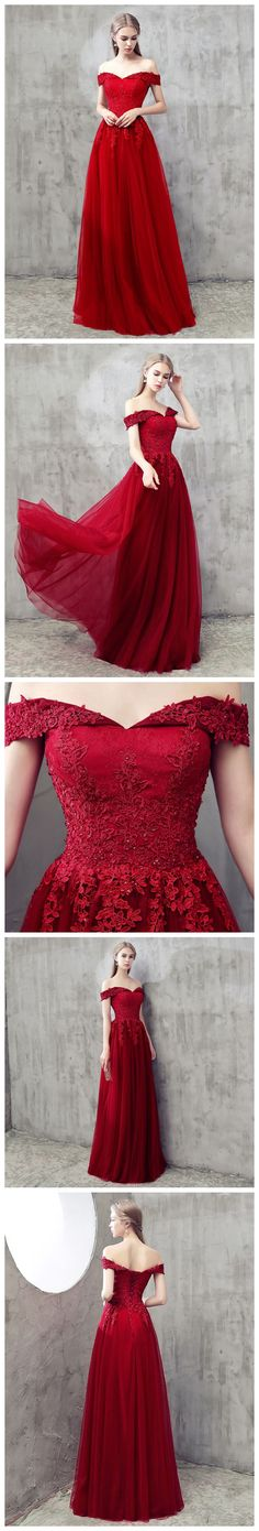RED A-LINE OFF-THE-SHOULDER TULLE APPLIQUE CHIC LONG PROM DRESS EVENING DRESS AM639 #amyprom  #fashion #party #evening #chic #promdress #promdresslong #longpromdress #eveningdress  #red