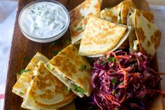 charred cauliflower quesadillas- would use smaller tortillas next time (hard to flip with the chunky filling)