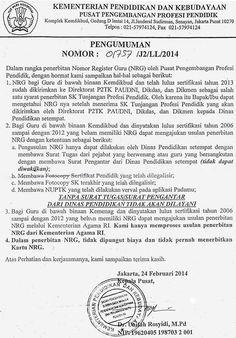 Forum PTK: SURAT PENERBITAN NOMOR REGISTRASI GURU (NRG) MENJA... Education, Onderwijs, Learning