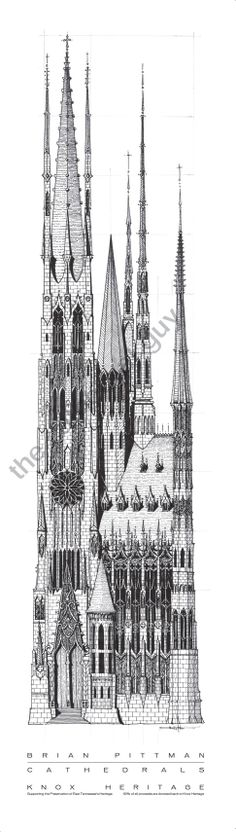 Knox Heritage Edition Cathedral Print A - I absolutely love these prints!  My husband's cousin draws these and is so amazingly talented!  <3  Visit his Etsy shop for more amazing cathedral drawings.