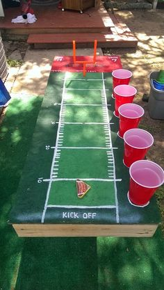 Our new beer game.. Flick Beer Football - How to play, If you make it between the goal post then the other person drinks.. If you miss, then you drink. (1 kicker and 1 referee)