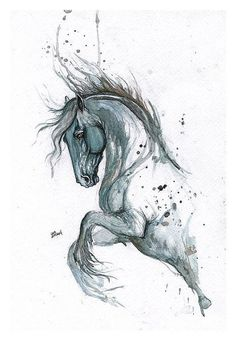Grey watercolor jumping horse tattoo design