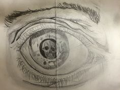 Charlotte, study after Escher'a  Eye for the Y9 'This is Me' Project. St Mary's Catholic High School.