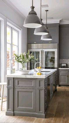 Best Kitchen Cabinets, Farmhouse Kitchen Cabinets, Kitchen Cabinet Colors, Modern Farmhouse Kitchens, Painting Kitchen Cabinets, New Kitchen, Kitchen Grey, Kitchen Modern, Kitchen Countertops