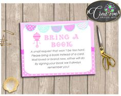 Baby Rattle Pink Baby Shower Pacifier Present Book Sign BRING A BOOK, Shower Activity, Party Organizing, Party Stuff - bsr01 #babyshowerparty #babyshowerinvites