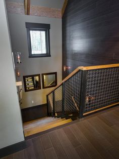 I love the materials used to build this uber cool staircase second Floor Hallway Pictures From HGTV Dream Home 2014 from HGTV