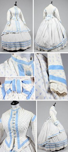 A sprigged blue and white cotton morning/summer dress, late 1860s. Three pieces: bodice, skirt, and overskirt, adorned with blue cotton bands and buttons. Kerry Taylor Auctions/Artfact