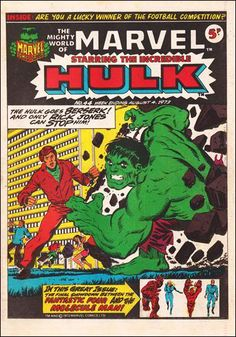 """Pre-""""Captain Marvel"""" cover by Jim Starlin! Before exchanging atoms with Mar-Vell, Rick Jones hopes to negotiate peace with Hulk! Smashing! (That's what the British say, guv'nor!)"""