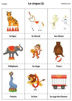 Imagier le cirque :  tigre, cheval, chien, éléphant, singe, ours, otarie, lion et la cage des fauves.