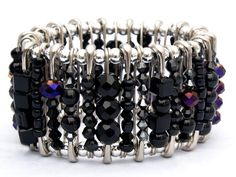 Etsy Gothic Black and Deep Purple Safety Pin Bracelet. #gothic #safety_pins