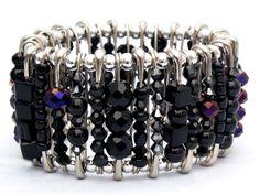 Safety Pin Bracelet Onyx Black by TrueBlueMeAndYou on Etsy