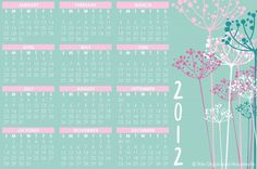 pretty printable 2012 yearly calendar and monthly calendars