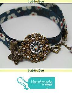 Bracelet rétro vintage fleur tissage perles japonaises, tons noir vert bleu blanc, tissu liberty fleuri, estampe fleur papillon laiton bronze à partir des Lydee Deco https://www.amazon.fr/dp/B07452NNZM/ref=hnd_sw_r_pi_dp_-UlFzbNHRWWSR #handmadeatamazon