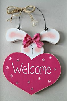Bright Pink Easter Bunny Wooden Welcome Heart Easter Projects, Easter Crafts, Crafts For Kids, Easter Decor, Wood Block Crafts, Wooden Crafts, Candy Theme Birthday Party, Diy Ostern, Easter Holidays