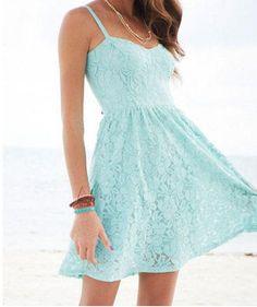 Mint Strappy Lace Dress - Party - Dresses - dELiA*s Pretty Outfits, Pretty Dresses, Beautiful Dresses, Cute Outfits, Gorgeous Dress, Blue Summer Dresses, Light Blue Dresses, Cute Fashion, Teen Fashion
