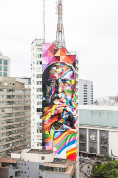 Enormous Mural Painted on a Skyscraper in Sao Paulo