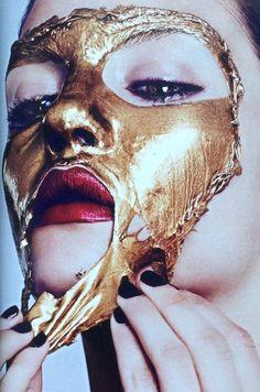 Liquid Gold Face Mask, photo by Ben Hassett, Harpers Bazaar Magazine.