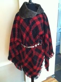 Wonderful Italian wool plaid Poncho with sheep skin collar by CID Textile Art. Please visit my website for more creations! www.CIDTextileArt.com