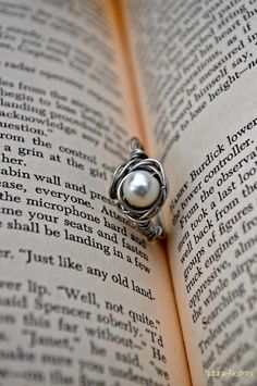 Bird Nest One Egg Pearl Ring by NaturallyNifty on Etsy, $6.00