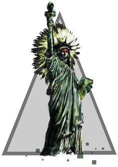 native liberty, statue of Liberty, estatua de la libertad, drawing watercolor, acuarela dibujo