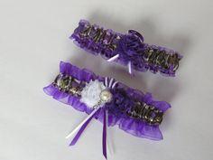 Purple True Timber MC2 Camo Bridal Garter Set for wedding or prom by- TheMomentWeddingBoutique