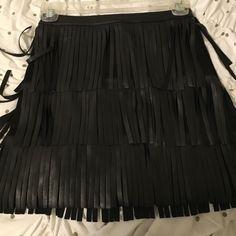 Black fringe skirt! Only worn once. Black fringe skirt, super fun for party's. H&M Skirts Mini
