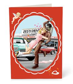 A variety 4 pack of nostalgic Valentines Day cards invaded by zombies!    There are four different 5 x 7 cards filled with zombie love!  The cards