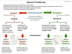 dog learning theory - Operant conditioning explanatory diagram for positive and negative reinforcement and punishment. dog training tips Learning Psychology, Educational Psychology, Learning Theory, School Psychology, Psychology Facts, Developmental Psychology, Positive Psychology, Behavioral Analysis, Behavioral Therapy