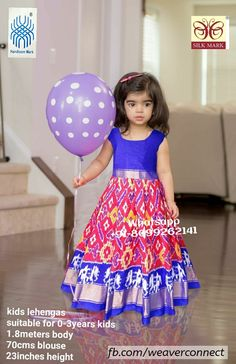 Exclusive ikkat kids lehengas available in stock ready to ship Whatsapp Measurements: Suitable for age group body blosue height Kids Lehenga, Indian Designer Wear, Indian Wear, Frocks, Blouse Designs, Kids Fashion, Bows, Silk, Summer Dresses