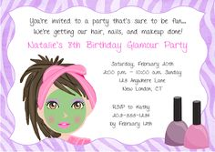 Girls Spa Party Invitation Wording | party invitations this adorable spa invitation features a girl ...