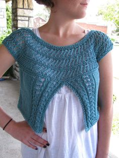 Beautiful color & stitch work.  Lace Yoke Cap Sleeve Cardi Pattern by TheKnitKnot, via Etsy.
