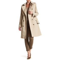 London Fog Hooded Trench Coat ($130) ❤ liked on Polyvore featuring outerwear, coats, stone, fur-lined coats, long sleeve coat, buckle coats, london fog coats and brown coat