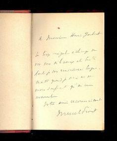 En plus d'écrire, Marcel PROUST traduit. C'est le cas pour « La bible d'Amiens » titre de John LUSKIN. Cet envoi autographe de PROUST à Henri JOUBERT à qui il écrit : « Un trop inégal échange de vos vers délicieux et tristes dont je vous remercierai longuement quand je serai un peu moins souffrant qu'en ce moment ». Il me semble que tout PROUST  est résumé dans cet autographe …