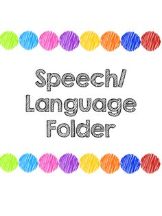 Speech Therapy Folders - Home Sweet Speech Room
