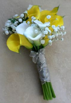 White & Yellow Mini Calla Bouquet with babies breath and ballet style wrap