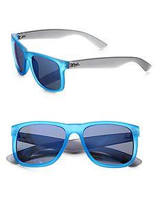 Love the blue mirror lens on Ray-Ban's Boyfriend Square Rubber Sunglasses.  #rayban #blue