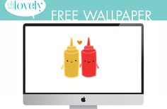 Oh So Lovely Blog: FREEBIE // KETCHUP + MUSTARD DESKTOP Free Printable Monogram, Free Monogram, Free Desktop Wallpaper, Free Planner, Valentine Day Love, Planner Stickers, Mustard, Gallery Wall, Crafty