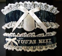Except change to marine corps! This is too funny... Digital Navy camo garter set with personalized dog tag and you're next embroidered on the toss garter. $32.00, via Etsy.