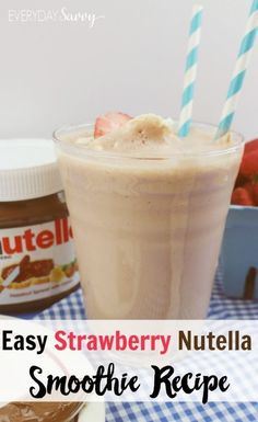 This easy strawberry Nutella recipe makes a yummy treat for kids or adults. It requires just three simple ingredients. All these ingredients are easy to have on hand so you can whip this up easily for an after school snack or a delicious treat. ... #Beverages #Smoothies #Drinks #Recipe