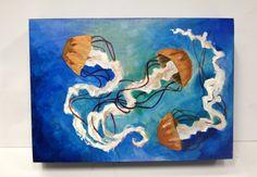 Trance. original acrylic jellyfish painting on wood panel on Etsy, $47.00