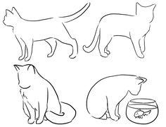 Four Cat Poses by DrunkOnTea on DeviantArt