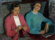 Sunday Afternoon, 1955 by John Mackintosh Glasgow Museum, Knit Art, Glasgow School Of Art, Art Uk, Modern Artists, Knitting Projects, Knitting Patterns, Portraits, Oeuvre D'art