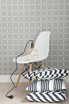 Scandinavian home accessories pendant in gold, Eames Chair, cushion