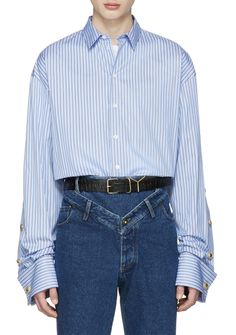Y/Project Blue Oversized Striped Shirt   from SSENSE (men, style, fashion, clothing, shopping, recommendations, stylish, menswear, male, streetstyle, inspo, outfit, fall, winter, spring, summer, personal)