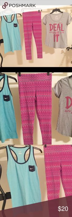 ALL 3 ITEMS INCLUDED!! Everything is LIKE NEW CONDITION, u will think they are brand knew!! ... Tank and leggings size small / the short sleeve size medium BUT fits like a size small! Nike Tops Tank Tops