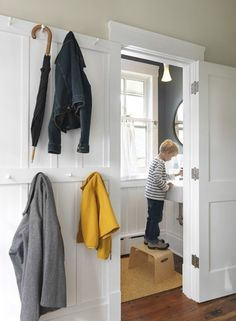 Living With Kids: Cory Kallfelz on Design Mom \ Love the board and batten with pegs Bathroom Interior, Modern Bathroom, Bathroom Ideas, Design Bathroom, Small Bathroom, Entry Hallway, Entryway Wall, Hallway Storage, Board And Batten