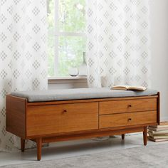 Mid-Century Entryway Bench AUD 899 127 cm w x 43 cm d x 47 cm h. Made from sustainably sourced wood certified to FSC® standards. Wood veneer in Acorn finish. 3 drawers. Upholstered cushion in Crosshatch Steel. Made in Vietnam.