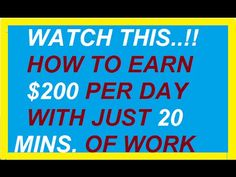 $200 in 20 minutes | Earn At Least $200 In Just 20 minutes of Work Per D... At Least, Calm