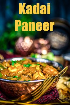 Kadai Paneer is a popular Indian curry where paneer (Indian cottage cheese) and bell peppers are cooked in tomato gravy with kadai masala. Serve with naan. Indian Veg Recipes, Indian Dessert Recipes, Paneer Recipes, Spicy Recipes, Curry Recipes, Vegetarian Recipes, Cooking Recipes, Chaat Recipe, Masala Recipe